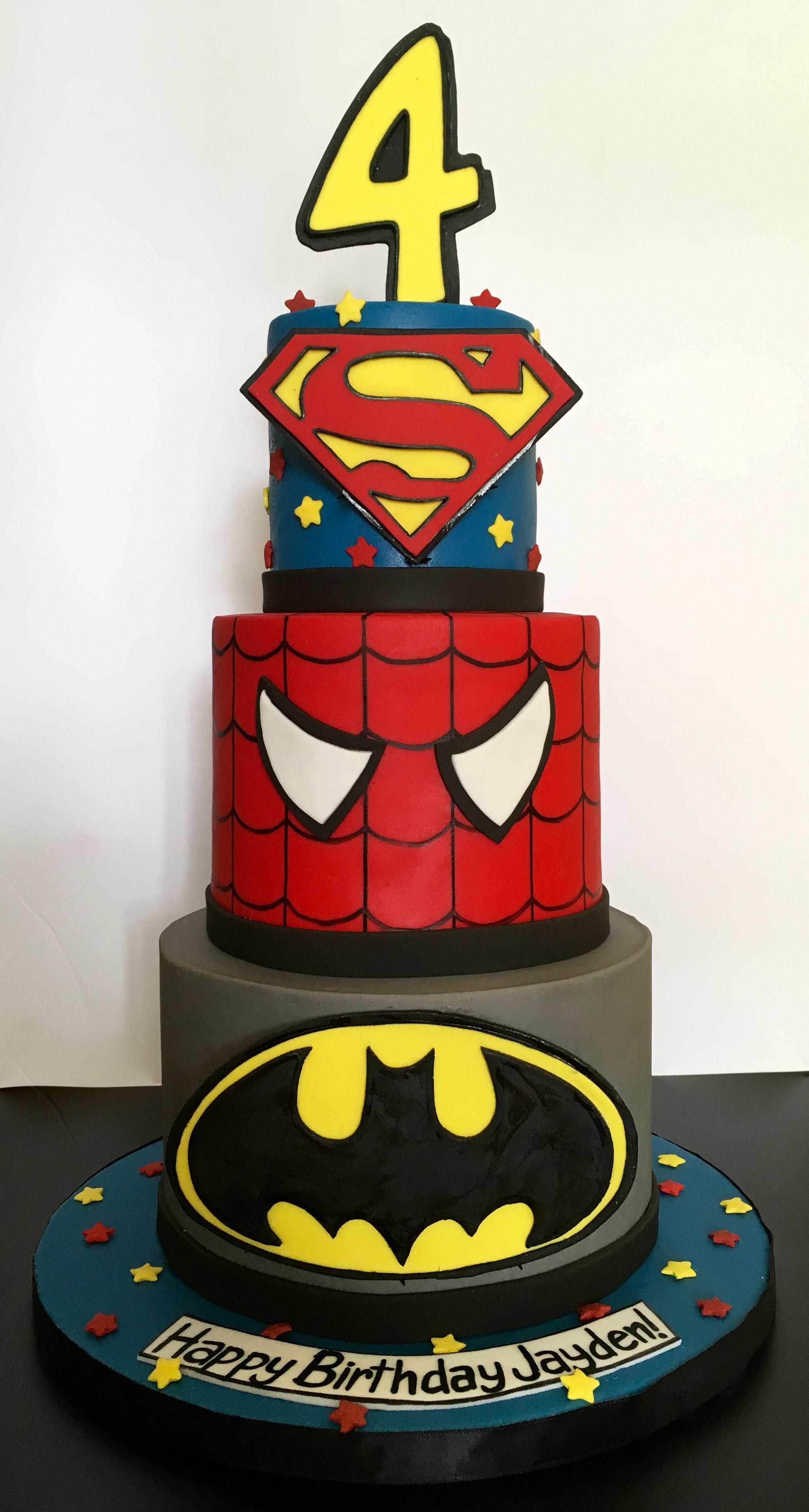 3 Tier Superhero Birthday Cake With Batman Logo Spriderman And