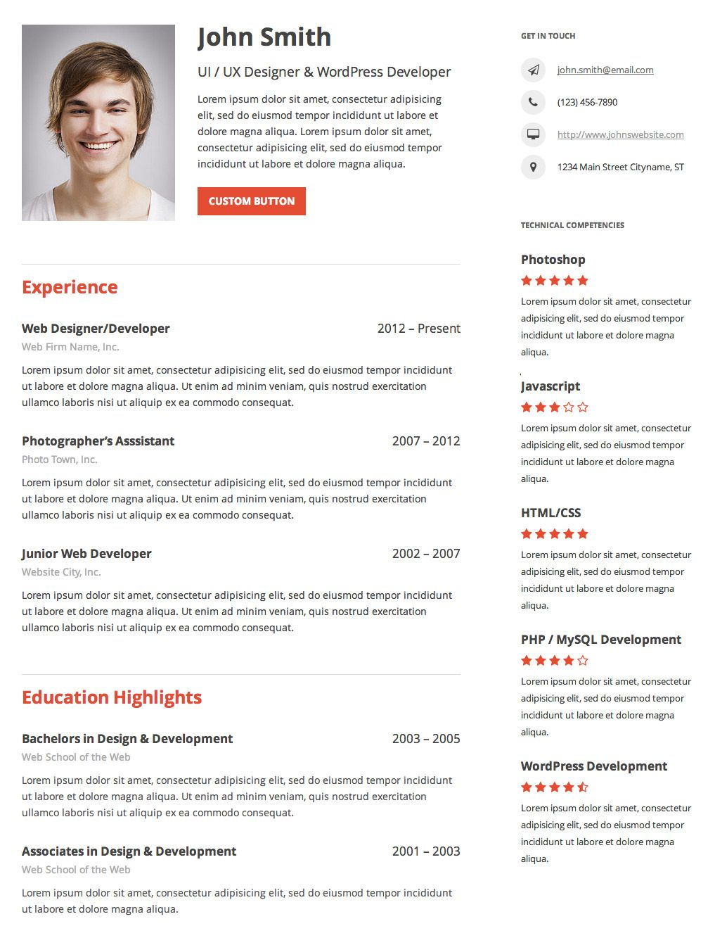 Resume Builder Plugin for Wordpress