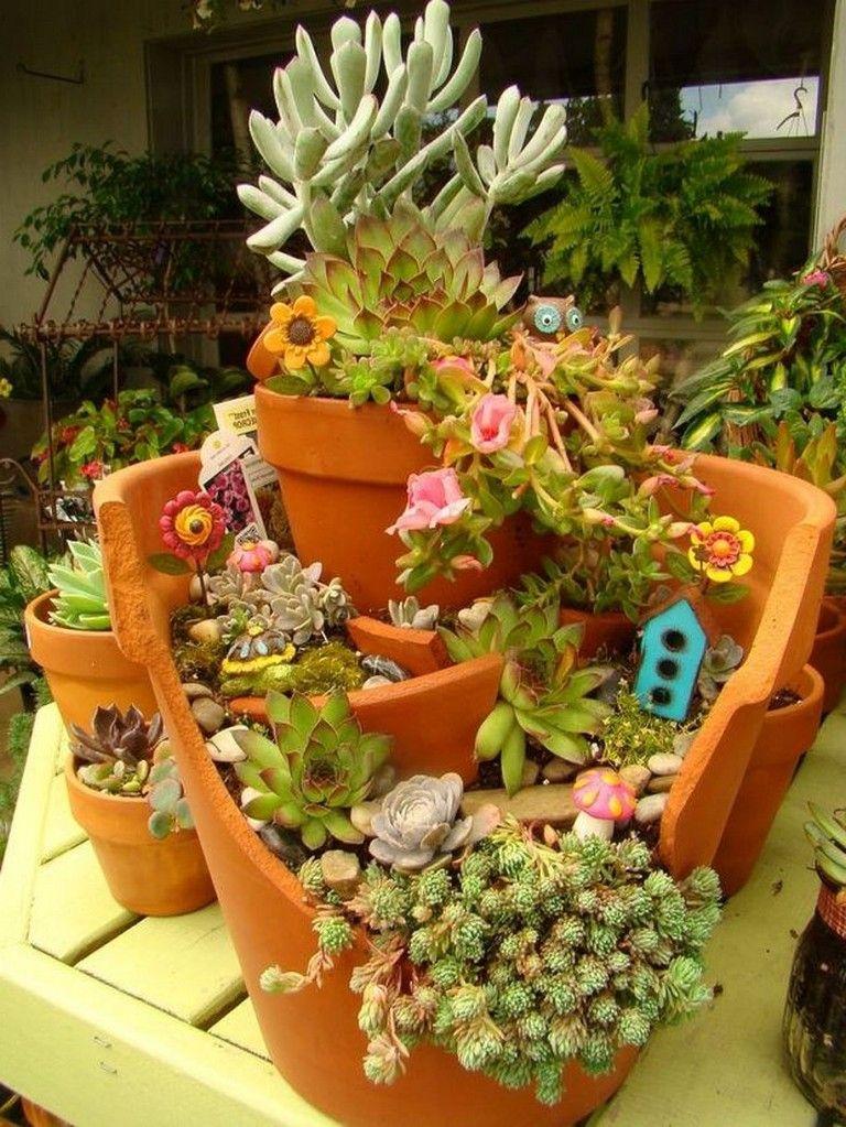 45 Stunning Ideas To Build A Fairy Tale Garden In A Broken Pot