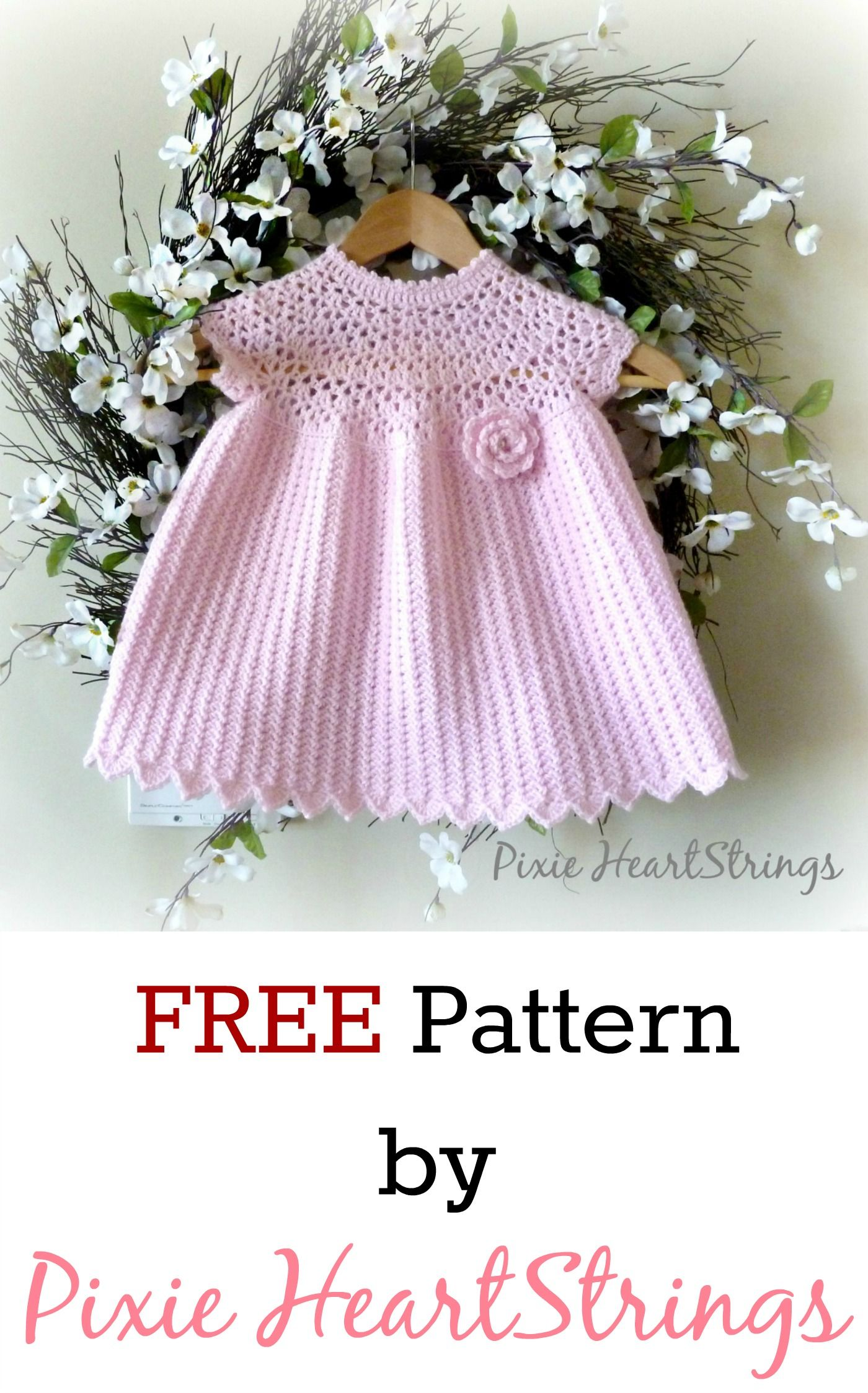 FREE Crochet baby dress pattern by Pixie HeartStrings | Baby Dress ...