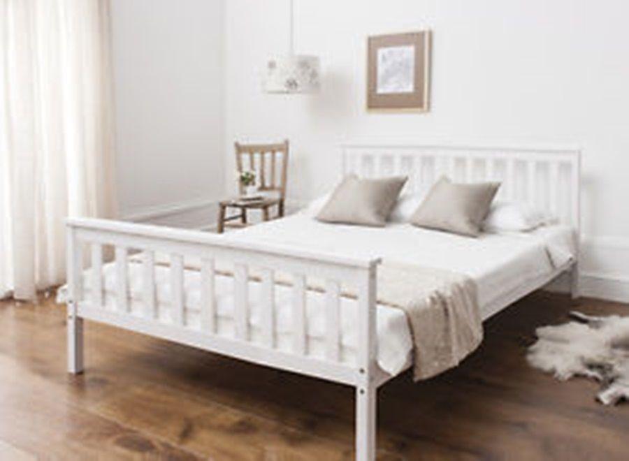 DENVER WOOD KING SIZE BED FRAME IN WHITE The Denver Bed Frame Is An  Affordable Bedstead