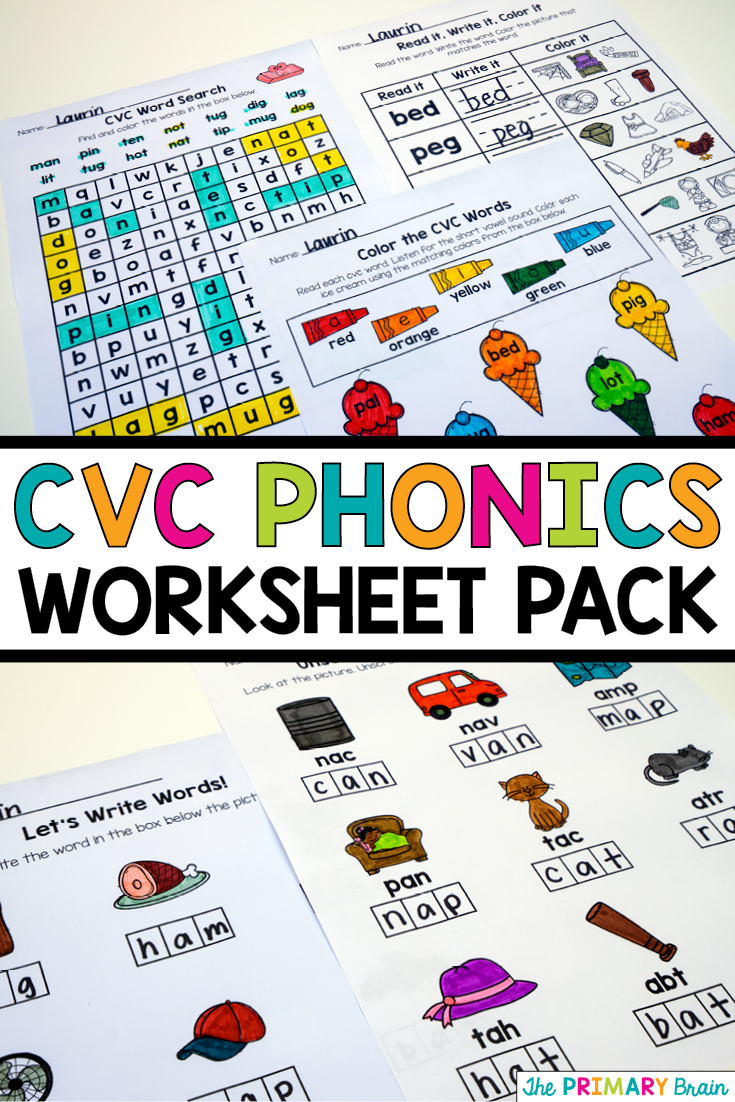 Cvc Phonics No Prep Worksheet Pack For Kinder And First Grade Students Great For Differenti Cvc Words Sight Words Kindergarten Activities Cvc Words Worksheets [ 1102 x 735 Pixel ]