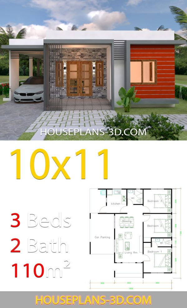 House Design 10x11 With 3 Bedrooms Terrace Roof House Plans 3d Brick House Designs House Plans Small House Design