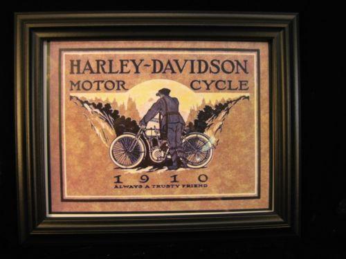 Art Poster: #FreeShipping Harley-Davidson Framed Art Deco Poster 1910 Bike & Riuder 11 X 13 X 1 Fsh