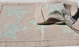 Turquoise Coral Linen Placemats & Napkins
