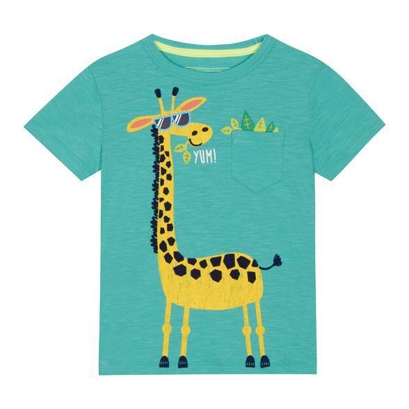 49c105f8 bluezoo 'Boys' green giraffe print t-shirt | Debenhams | Kids ...