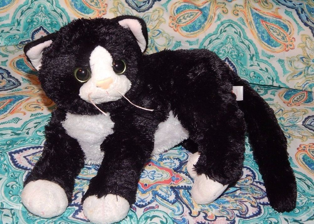 Ty Classic Shadow Black White Kitty Cat Laying Green Eyes 2011 Plush Toy 9