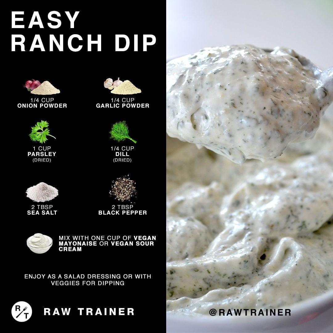 Raw Trainer On Instagram Give This Ranch Dip A Try Save For Later You Just Need A Few Spices And Sour In 2020 Homemade Condiments Vegan Sour Cream Vegan Mayonaise