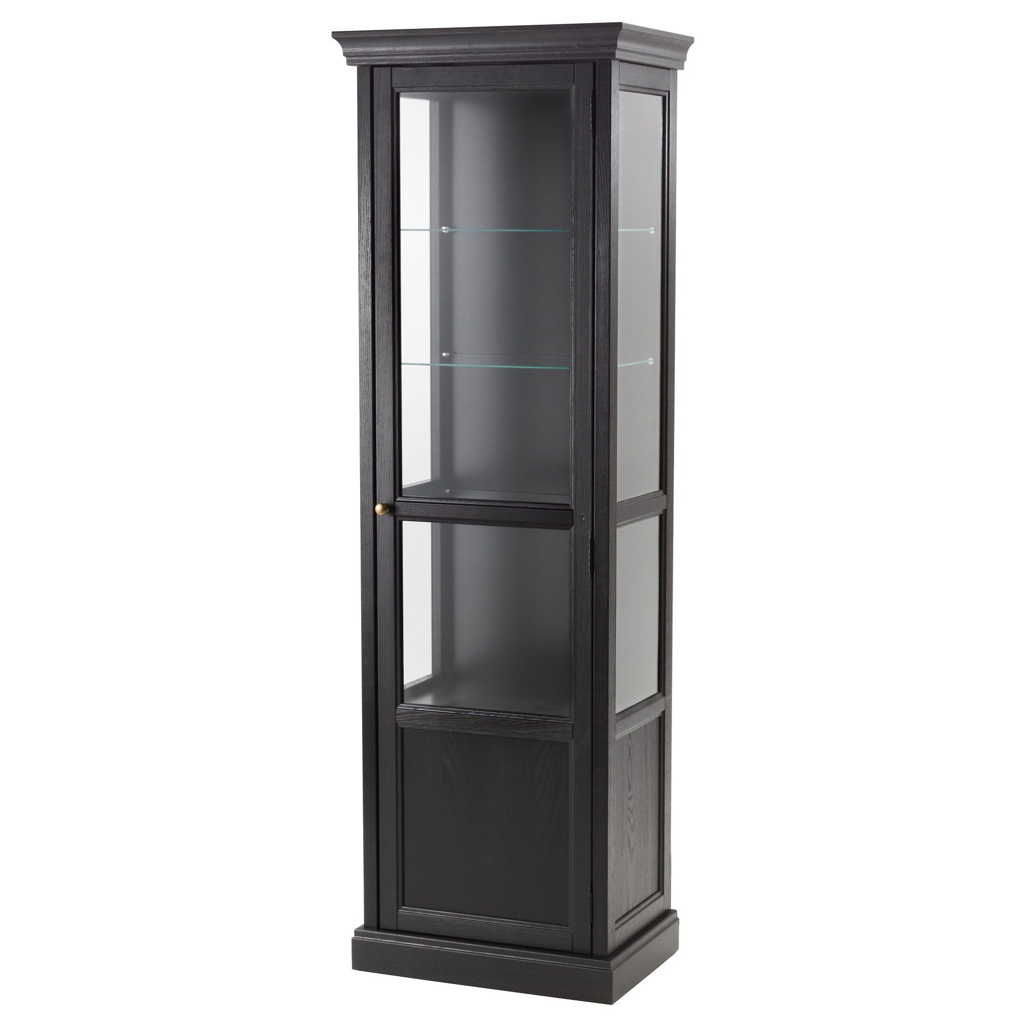 Malsjo Glass Door Cabinet Black Stained Black Stained 23 5 8x15 3 4x73 1 4 Ikea Glass Cabinet Doors Stained Glass Door Glass Shelves