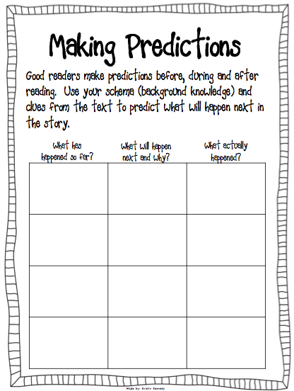 Prediction worksheet - use with the book The Wednesday Surprise ...