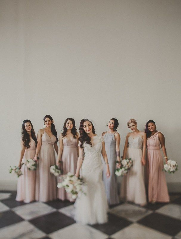 fall bridal party pictures%0A Mismatched Pastel Bridesmaid Dresses with a Lavender Hayley Paige Wedding  Dress