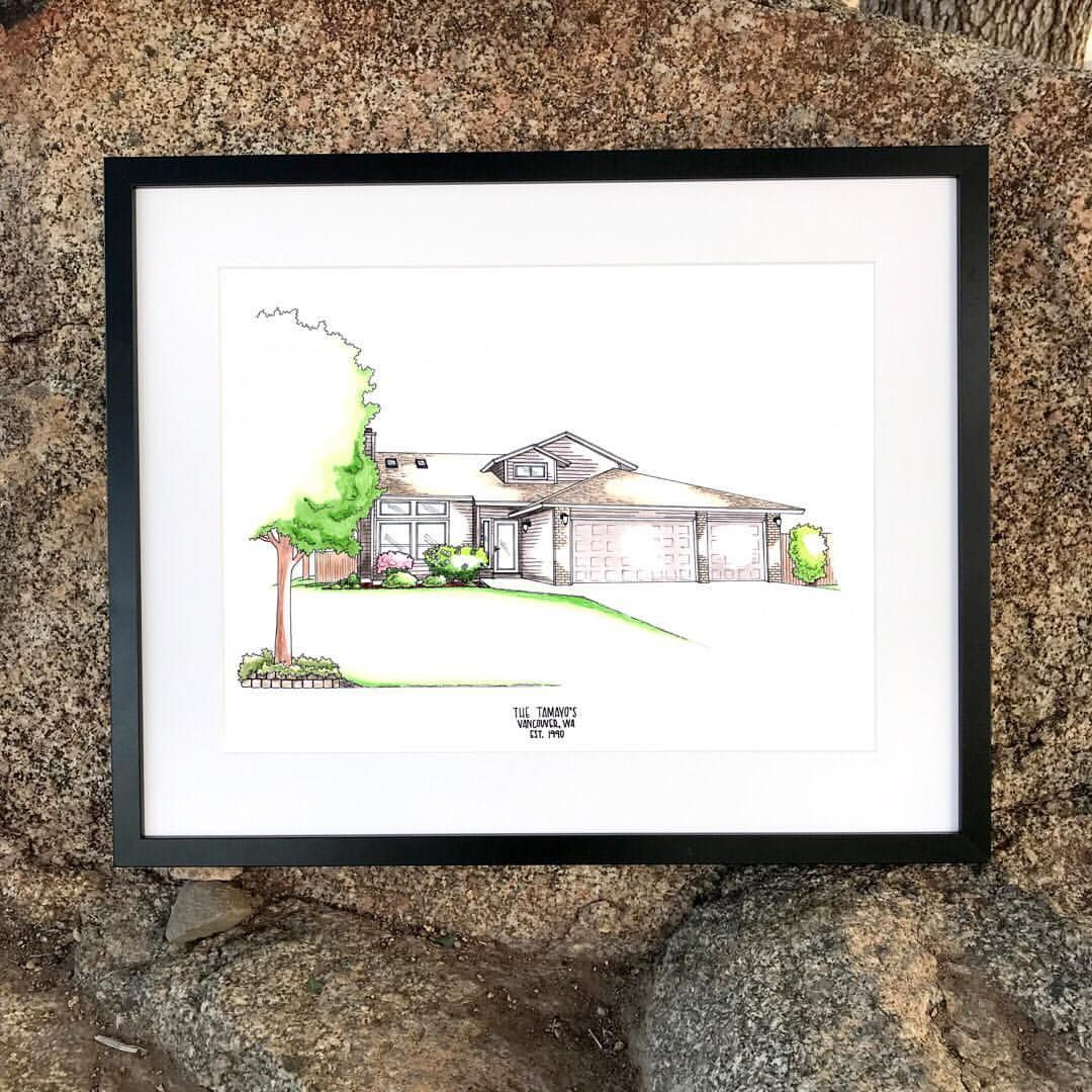Home Portrait. House Portrait. Custom Home Portrait. House Drawing ...
