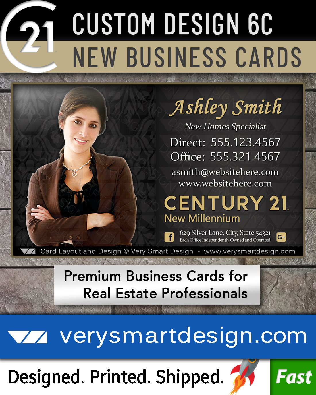 New Logo Business Cards For Century 21 Real Estate Agents In Usa 6c