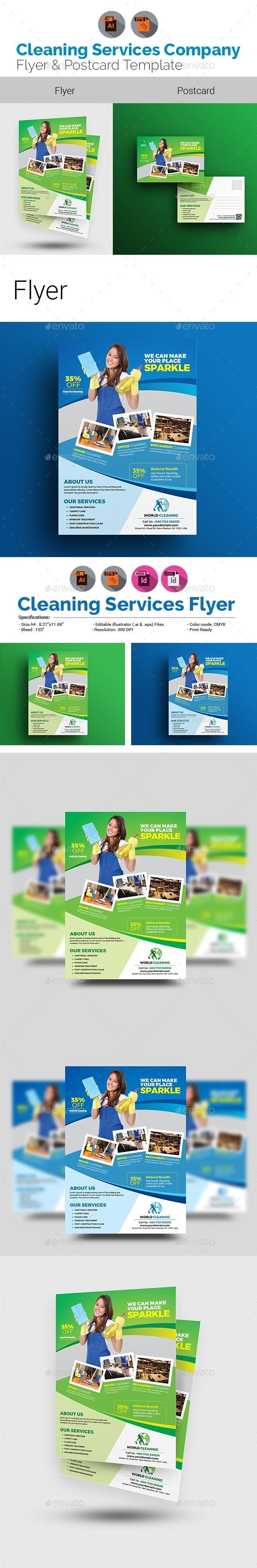 advert advertising bundle template clean clean services cleaning bundle cleaning company cleaning flyer with postcard