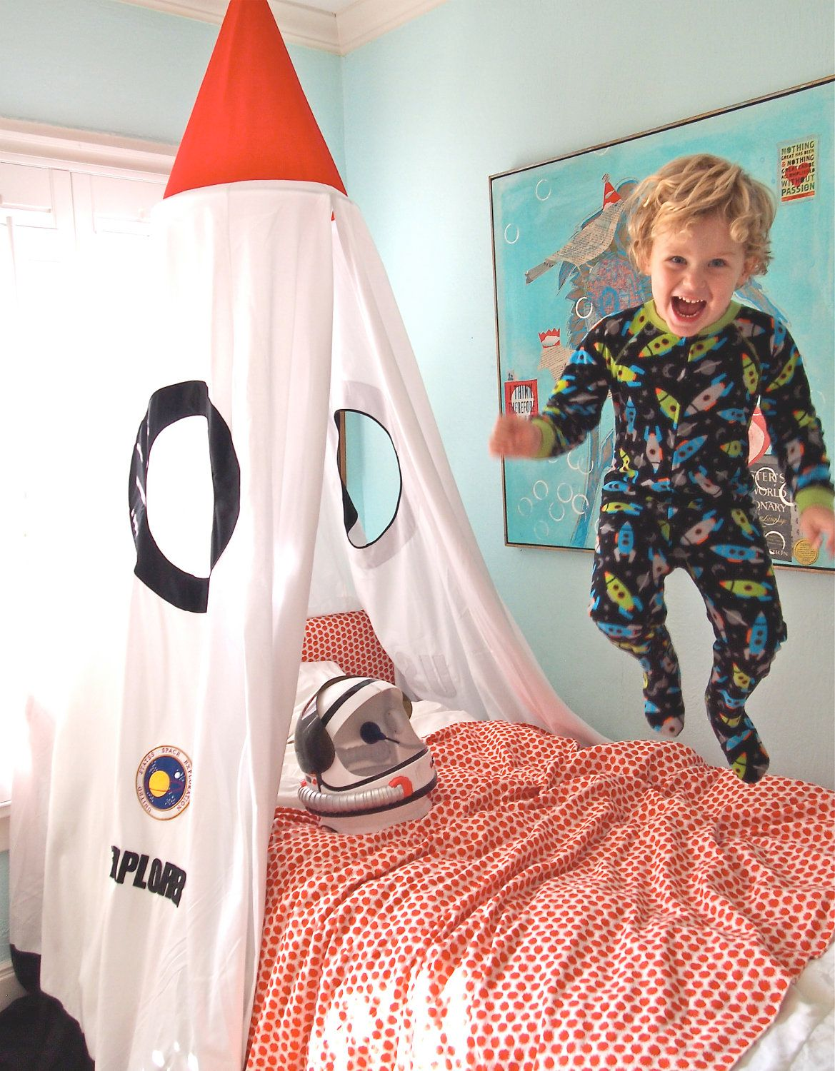 Children 39 s rocket bed canopy kids rooms pinterest for Childrens rocket bed