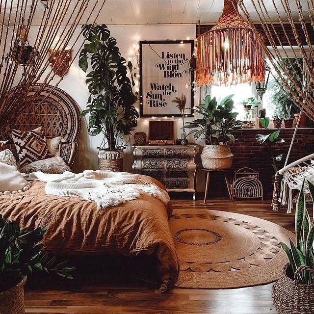 Relaxing And Cute Boho Bedroom Ideas In 2021 Earthy Bedroom Boho Bedroom Design Aesthetic Bedroom Room design ideas boho