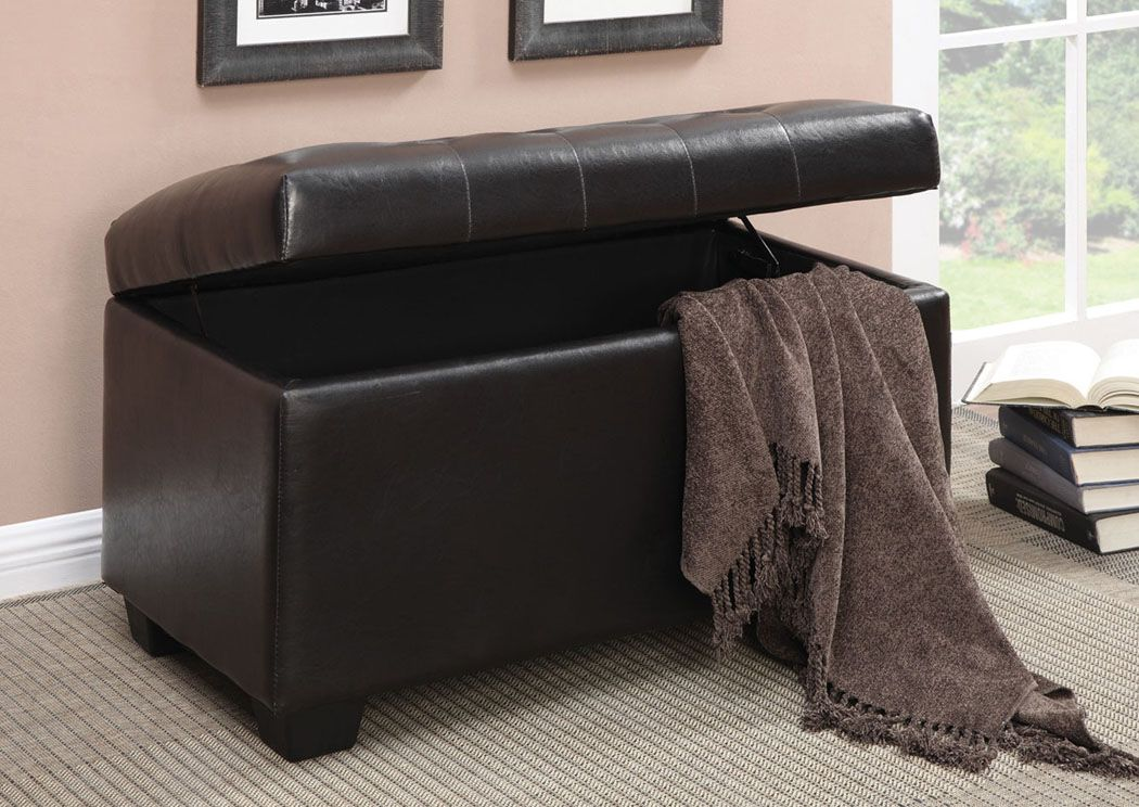 Storage ottoman wrapped in dark brown leather-like vinyl with button ...