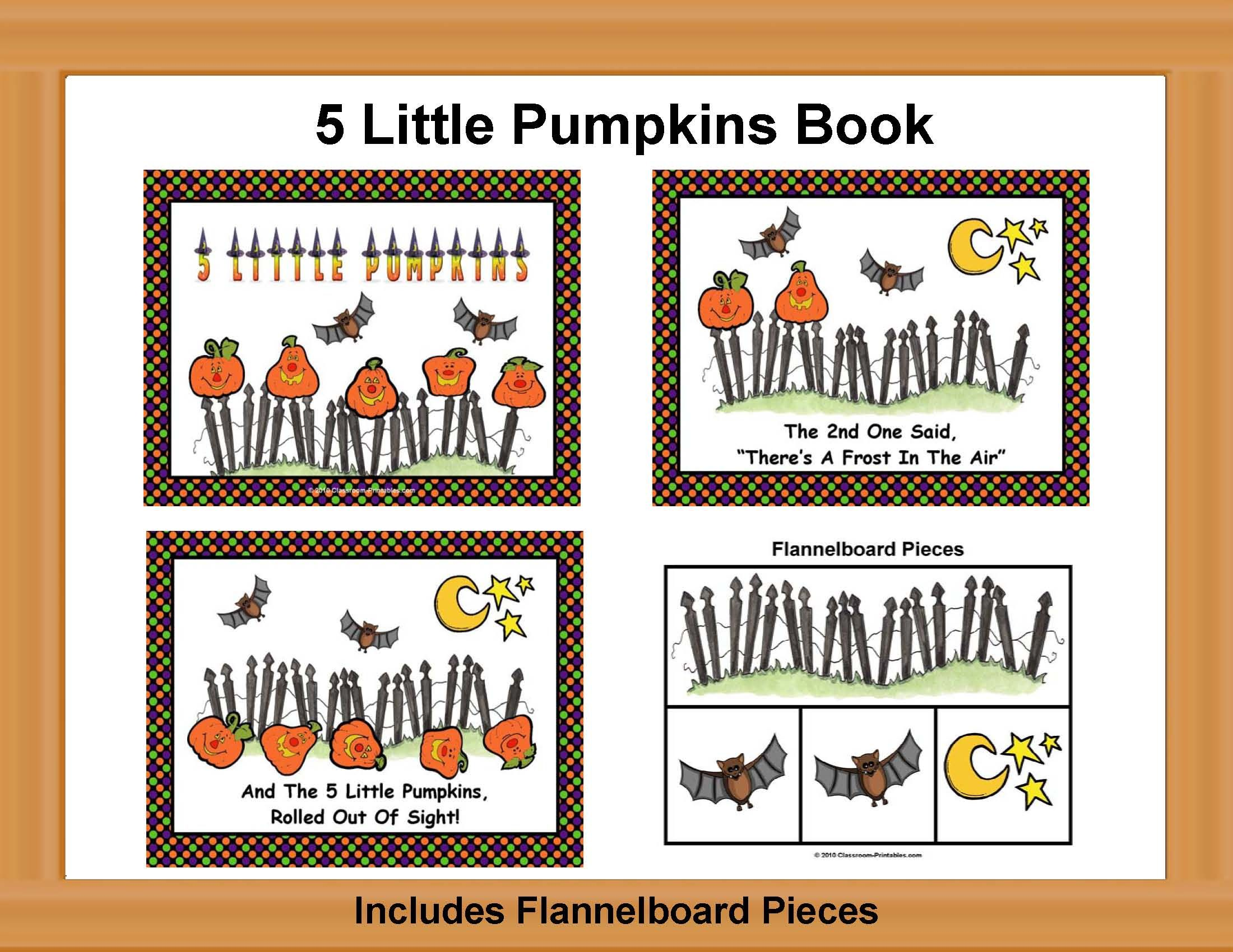 5 Little Pumpkins Book With Flannelboard Pieces Theme