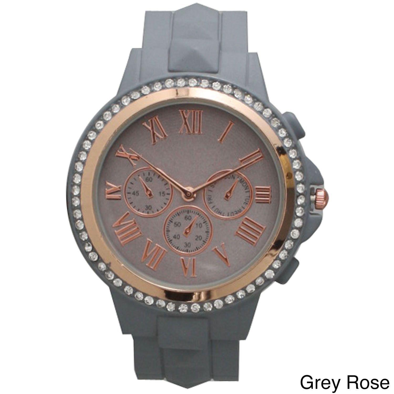 Geneva Olivia Pratt Women's Classic-inspired Rhinestone-accent Petite Watch