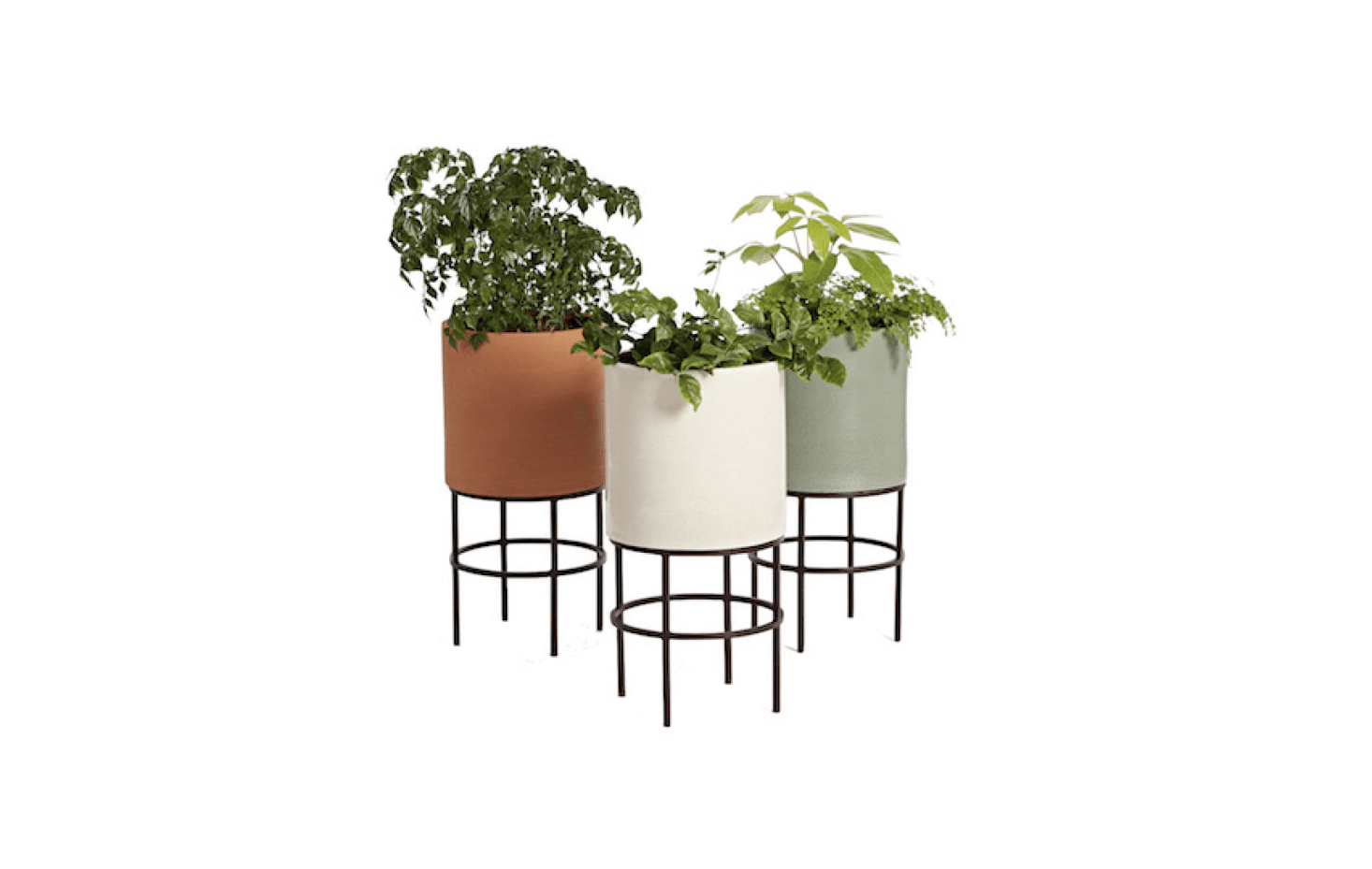 ecff582e7117 Made of hand-thrown clay, a midcentury modern cylinder Clinton Planter is  available in three colors (green, terracotta, and white) and has a metal  stand.