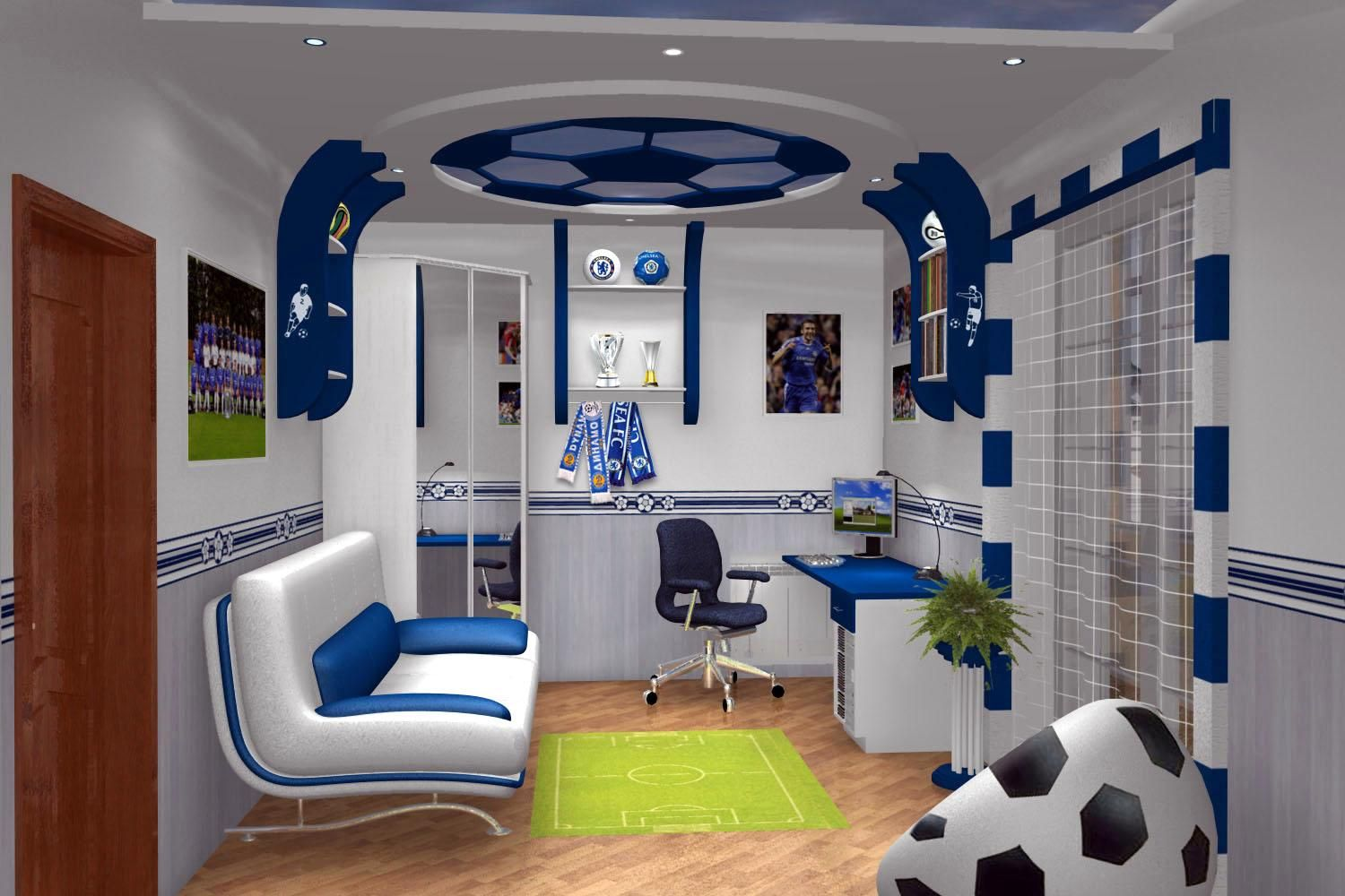 25 Marvelous Kids Rooms Ceiling Designs Ideas Pouted Com Soccer Themed Bedroom Colorful Kids Room Soccer Bedroom
