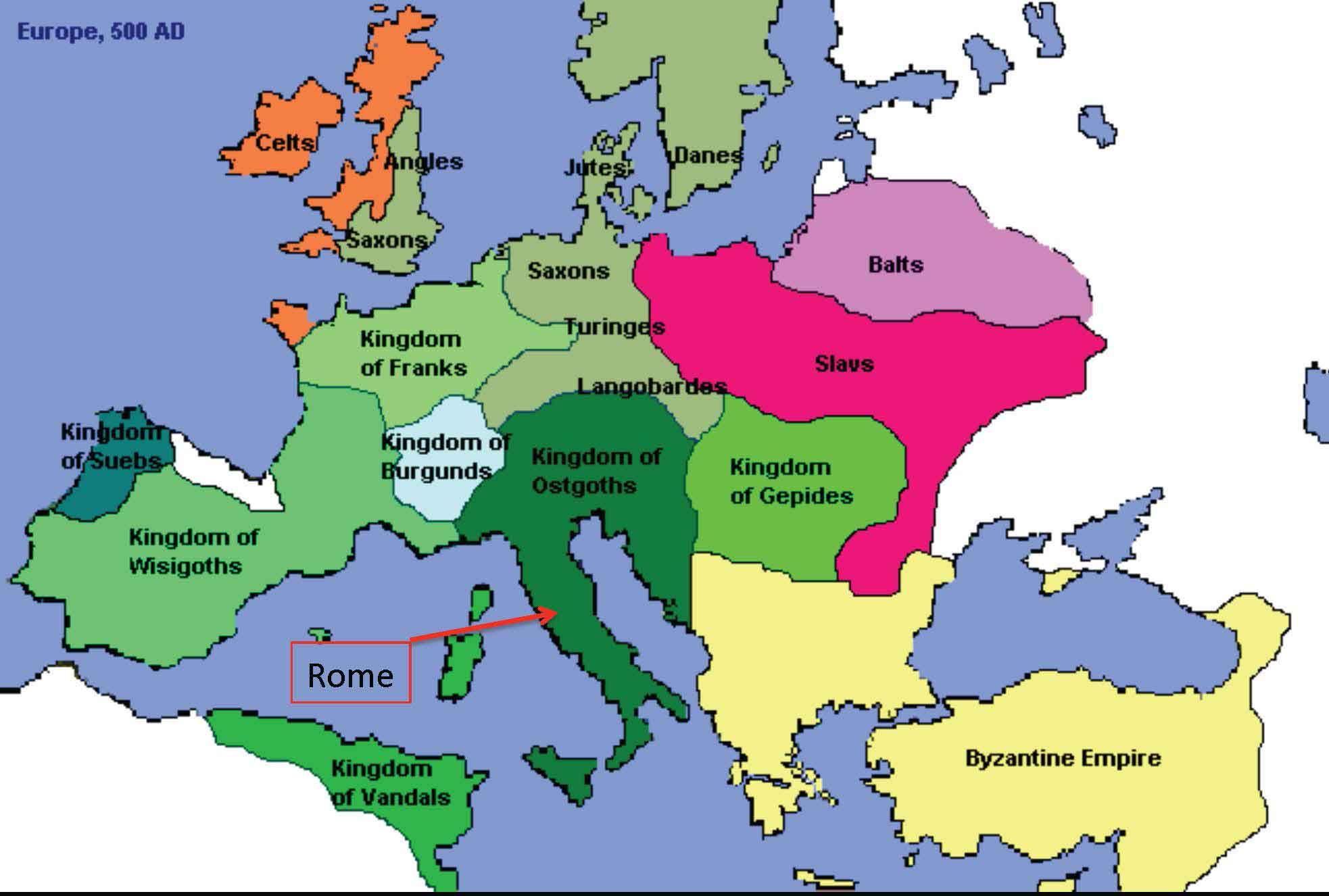 Europe Around 500 Ce Germanic Tribes Ap World History History