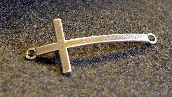 Sideways Cross Pendant charms Silver Tone Lead and Nickel Free, $3.00 #TEN36Designs