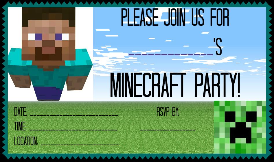 Las Invitaciones Fiesta De Cumpleaños Minecraft Fiesta