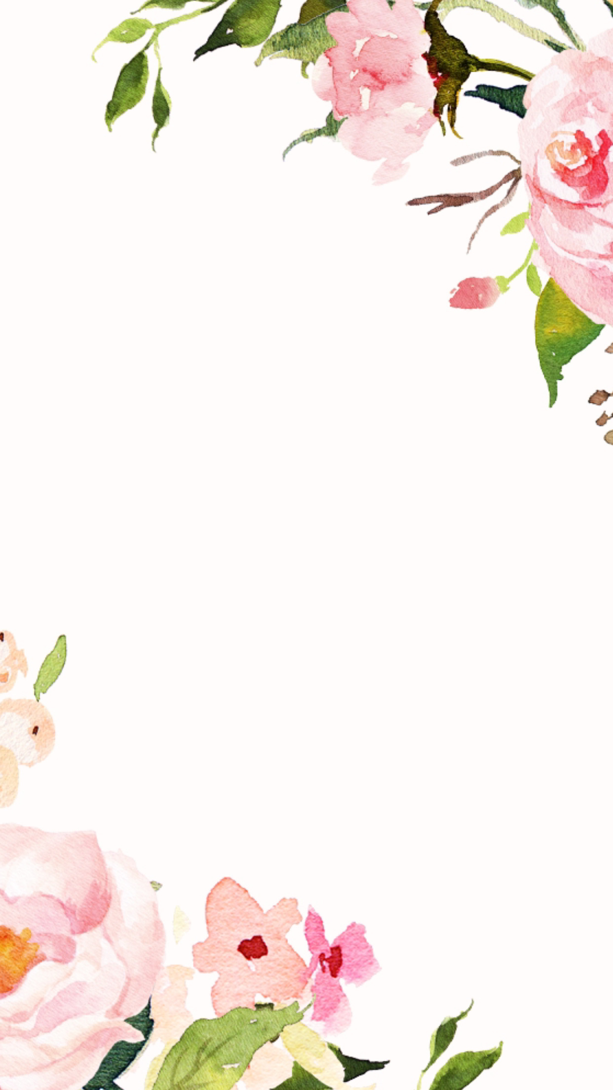Pink White Watercolour Floral Frame Border Flowers Wallpaper Background Phone Iphone Lock Screen