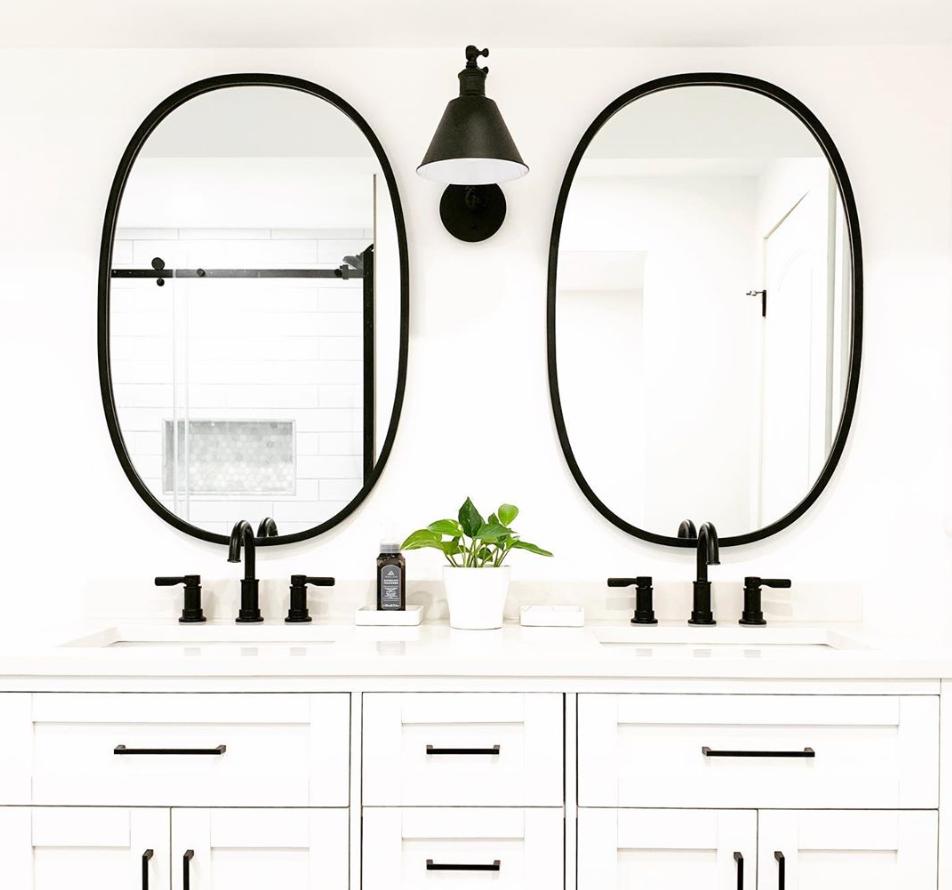Hub Oval Mirror Round Mirror Bathroom Farmhouse Bathroom Mirrors Farmhouse Master Bathroom [ 890 x 952 Pixel ]