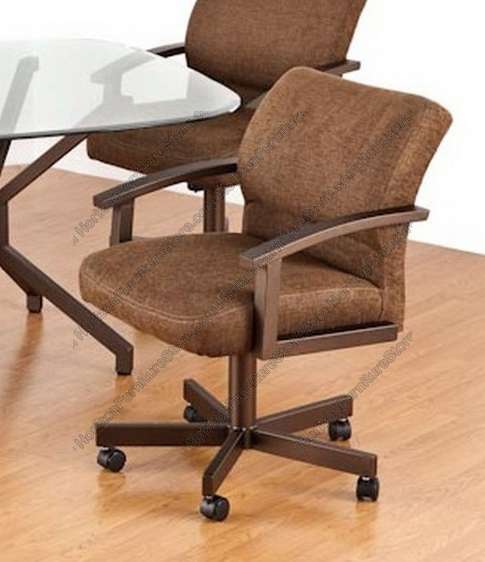 kitchen chairs with rollers Tempo Industries Fairfax Swivel Tilt Dining Arm Chair With Casters
