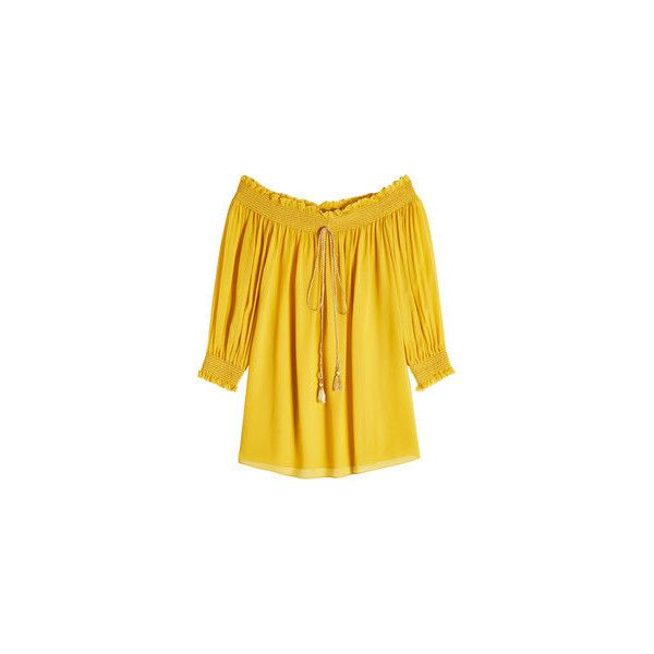Roberto Cavalli Silk Off-The-Shoulder Blouse ($829) ❤ liked on Polyvore featuring tops, blouses, yellow silk blouse, silk blouse, off shoulder blouse, boho tops and off shoulder tops