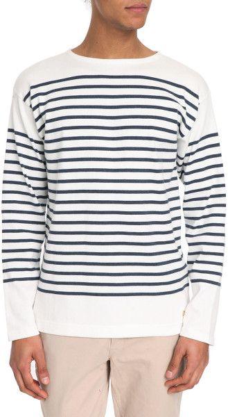 Armor Lux Heritage White And Indigo Cotton Breton Stripe T-Shirt in White for Men | Lyst