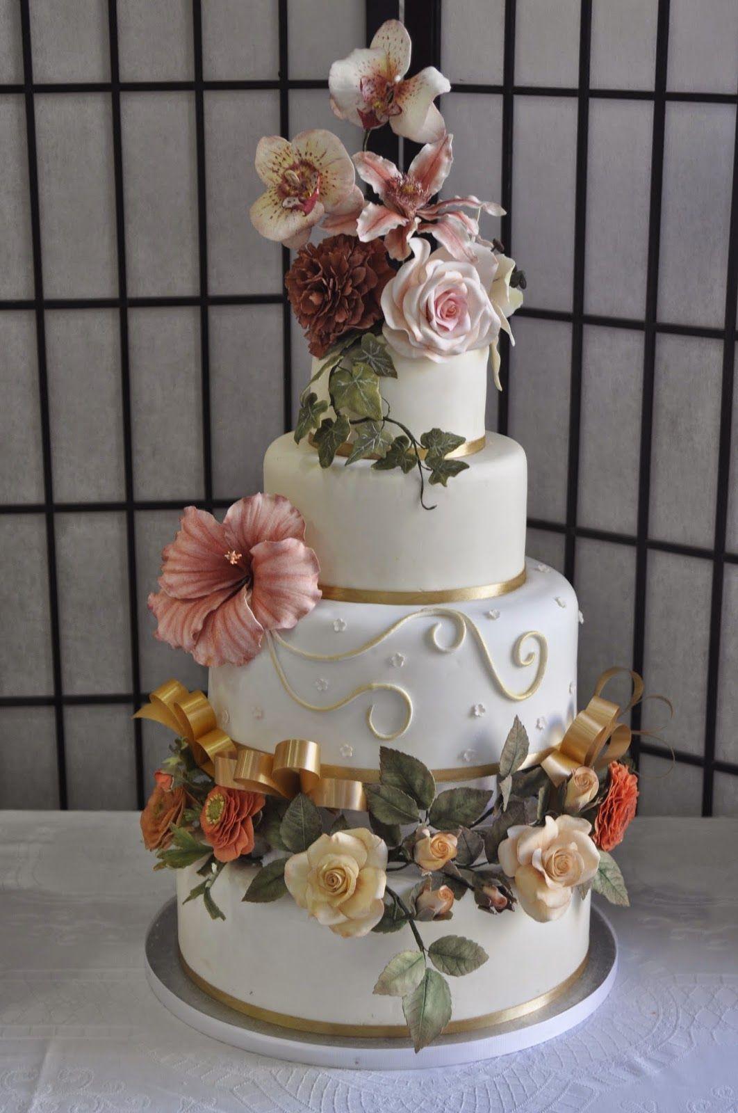 Tarta De flores de azúcar, orquideas, rosas, Hibiscus, hiedra, Peonia, ranunculos