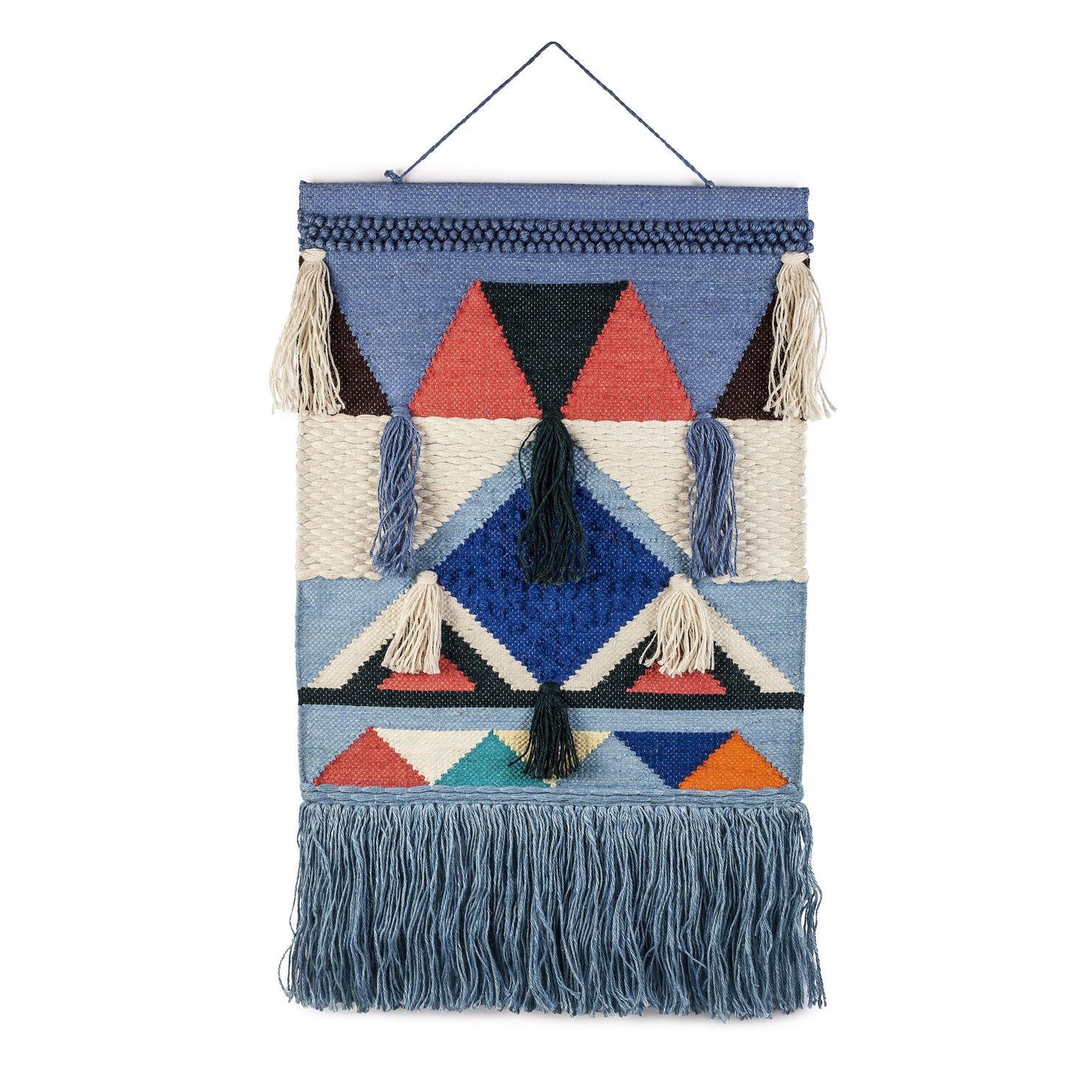 Happy friday retro chic large wall hanging blue home accessories