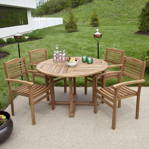 Teak Wood Round Dining Table Set With Stacking Chairs By Maycreek
