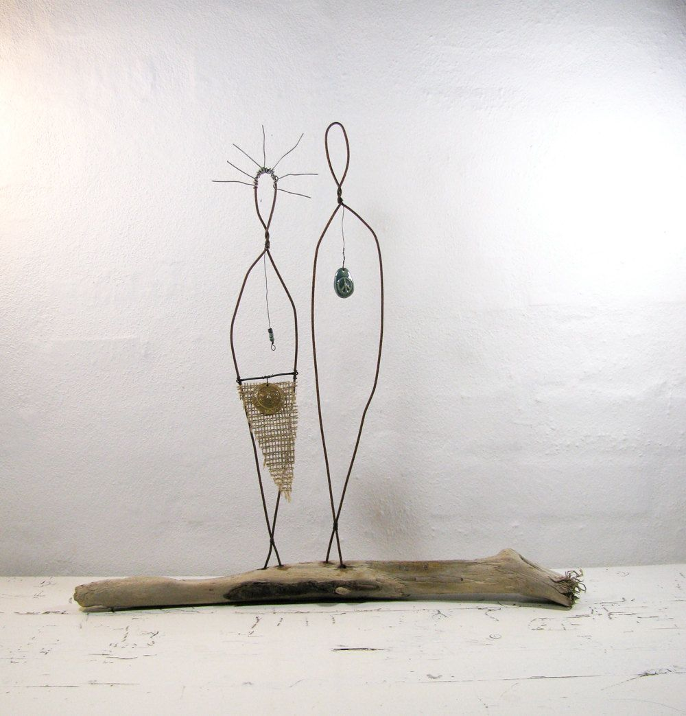 Rustic House Decor Wire Sculpture Couple - Driftwood Wire Art ...