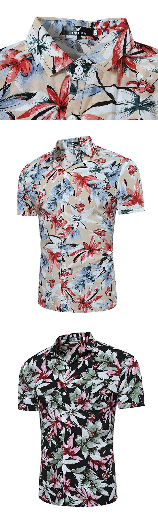 Hawaiian Flower Printing Short Sleeve Turn Down Collar Shirt For Men