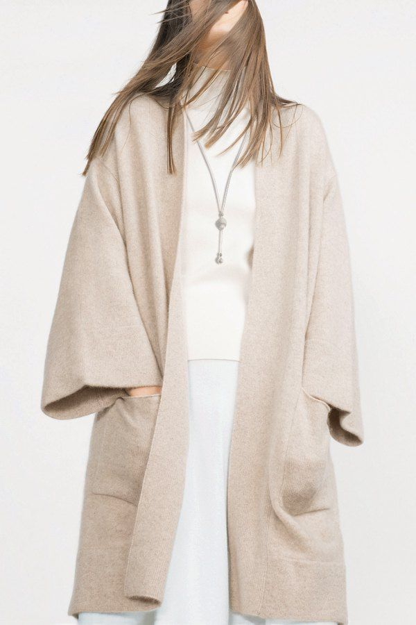 Off-White Collarless Long Sleeve Cardigan