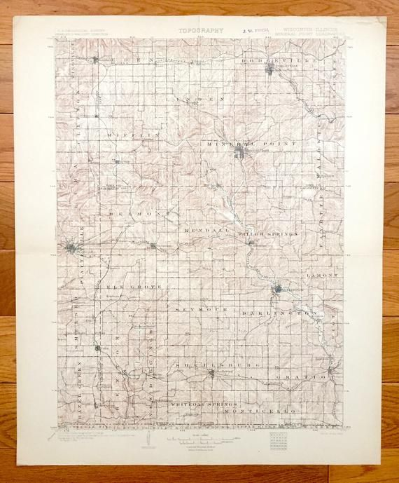 Antique Mineral Point Wisconsin 1902 Us Geological Survey