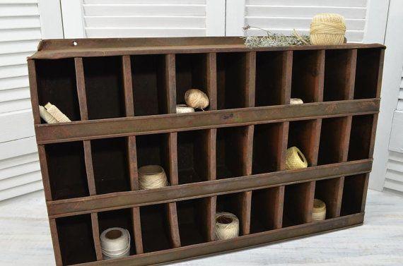 Rustic Industrial Cubby Storage Bin Unit Metal By Oldtimepickers Cubby Storage Bins Rustic Industrial Cubby Storage