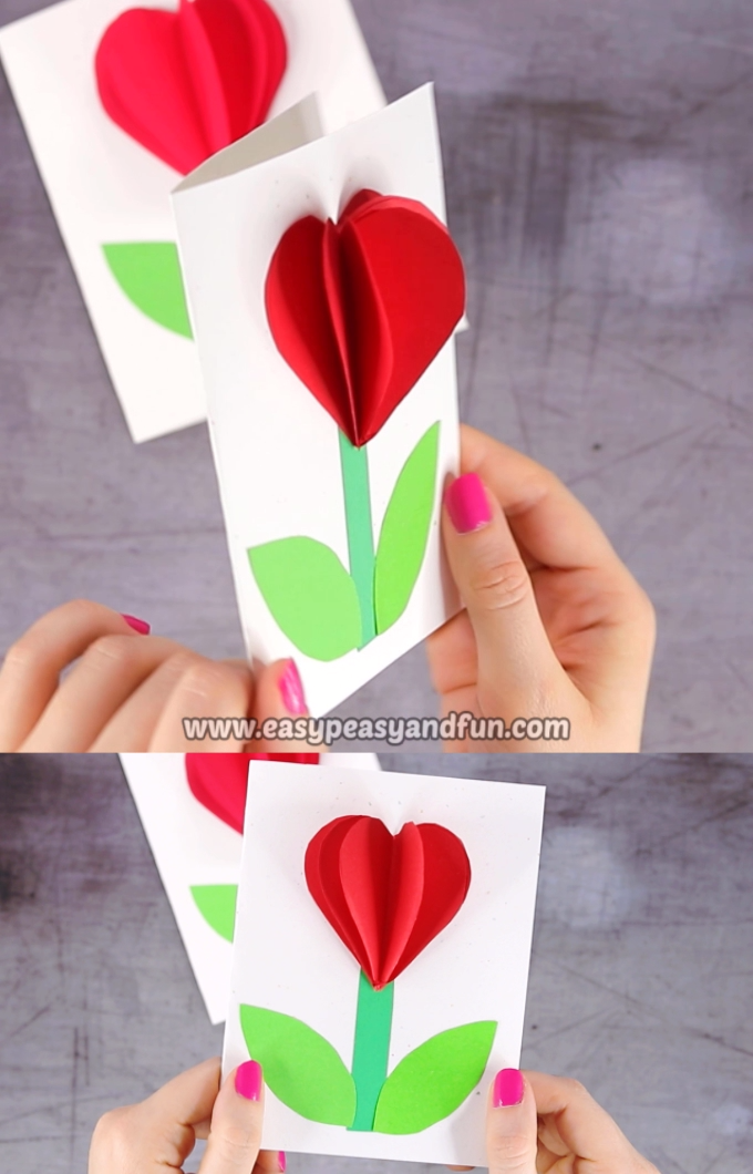 3D Heart Flower Card (with flower template) - Valentines and Mother's day craft idea