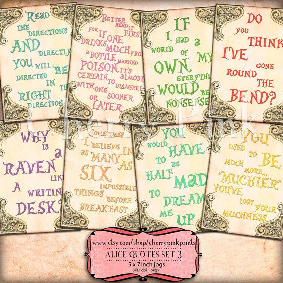 Alice in wonderland quotes set 3 alice decoration party printable alice in wonderland quotes set 3 alice decoration party printable digital collage sheet for your wonderland party junglespirit Choice Image