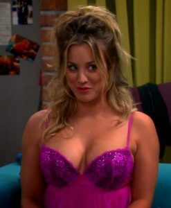 kaley cuoco nude tits in a sexy purple nightie | celebrity hotties