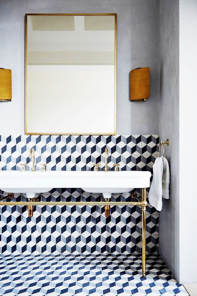 Inside An Impressive Townhouse With A Bold Design :: Graphic Tile In  Bathroom