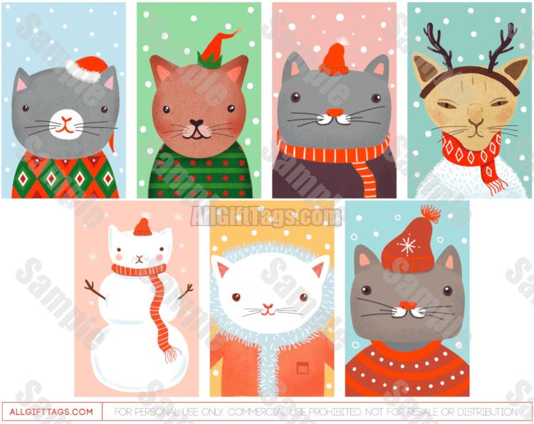 Christmas Cat Gift Tags Christmas Gift Tags Gift Tags Printable