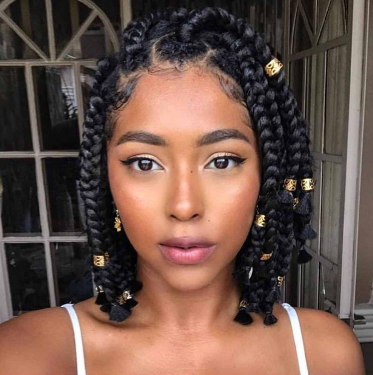 30 Short Box Braid Styles For Every Lady To Try Thrivenaija In 2020 Short Box Braids Braided Hairstyles Braided Hairstyles Easy