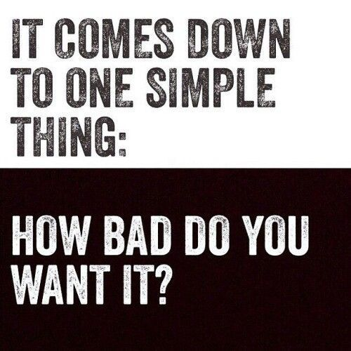 It All Comes Down To Commitment If You Want Something Bad Enough