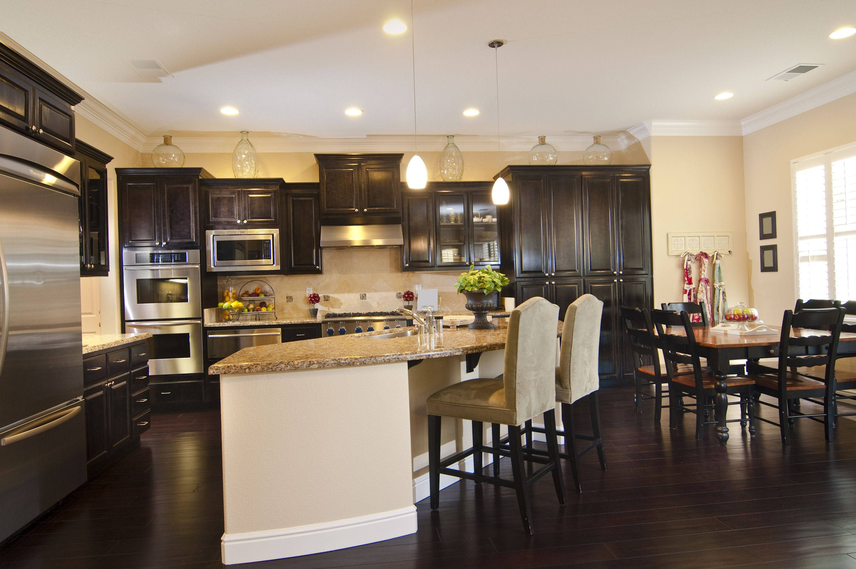 34 Kitchens With Dark Wood Floors Pictures Dark Kitchen Wood Floor Kitchen Kitchen Flooring