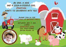 Farm Animals Birthday Invitation 5x7 Farm Party 2 Skin Tones